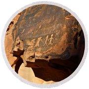 Petroglyphs Round Beach Towel