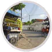 Petrol Stall And Cyclo Taxi In Solo City Indonesia Round Beach Towel