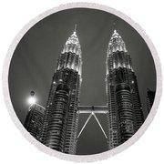 Petronas Towers At Night Round Beach Towel