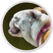 Pets - English Bulldog Profile Round Beach Towel