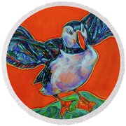 Petty Harbour Puffin Round Beach Towel
