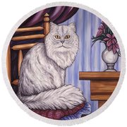 Pewter The Cat Round Beach Towel