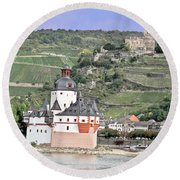 Pfalzgrafenstein With Burg Gutenfels  Round Beach Towel