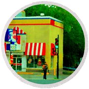 Pfk Poulet Frit Kentucky Kfc Sherbrooke And Decarie Montreal Art Restaurant Scenes Carole Spandau Round Beach Towel