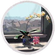 Phalaenopsis Orchid In Sunny Window Round Beach Towel