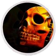 Phantom Skull Round Beach Towel by Shane Bechler