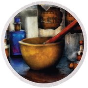 Pharmacist - Mortar And Pestle Round Beach Towel by Mike Savad
