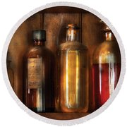 Pharmacist - Various Elixirs  Round Beach Towel by Mike Savad