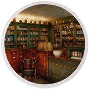 Pharmacy - Patent Medicine  Round Beach Towel by Mike Savad