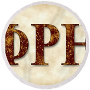 Phi Rho Eta - Parchment Round Beach Towel