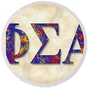 Phi Sigma Alpha - Parchment Round Beach Towel