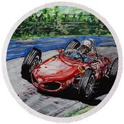 Phil Hill At Nurburgring. Round Beach Towel