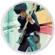 Phil Lynott Of Thin Lizzy - Black Rose Tour Day On The Green 7-4-79  Round Beach Towel