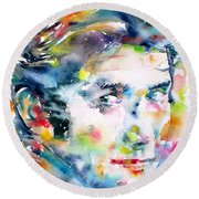 Phil Ochs - Watercolor Portrait Round Beach Towel
