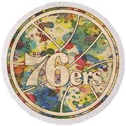 Philadelphia 76ers Retro Poster Round Beach Towel