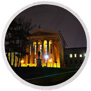 Philadelphia Art Museum  At Night From The Rear Round Beach Towel