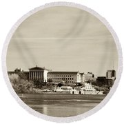 Philadelphia Art Museum With Cityscape In Sepia Round Beach Towel