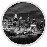 Philadelphia Black And White Cityscape Round Beach Towel