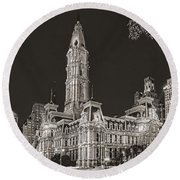 Philadelphia City Hall Mono Round Beach Towel