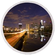 Philadelphia Cityscape From South Street At Night Round Beach Towel