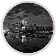 Philadelphia From South Street At Night In Black And White Round Beach Towel