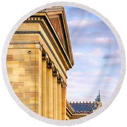 Philadelphia Museum Of Art Facade Round Beach Towel