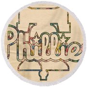 Philadelphia Phillies Logo Art Round Beach Towel