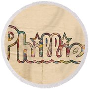Philadelphia Phillies Poster Art Round Beach Towel