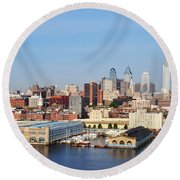 Philadelphia River View Round Beach Towel by Bill Cannon