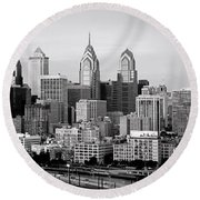 Philadelphia Skyline Black And White Bw Pano Round Beach Towel