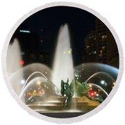 Philadelphia - Swann Fountain - Night Round Beach Towel by Bill Cannon