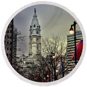 Philadelphia's Iconic City Hall Round Beach Towel by Bill Cannon