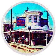 Philadelphia's Pat's Steaks Round Beach Towel