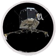 Philae Lander Descending To Comet 67pc-g Round Beach Towel