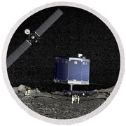 Philae Lander On Surface Of A Comet Round Beach Towel