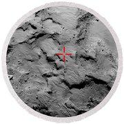Philae Lander Touchdown Point On Comet Round Beach Towel