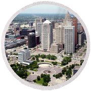 Philip A Hart Plaza Detroit Round Beach Towel