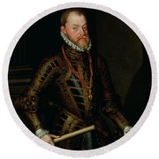 Philip II Of Spain C.1570 Round Beach Towel