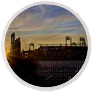 Phillies Citizens Bank Park At Dawn Round Beach Towel by Bill Cannon