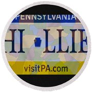 Phillies License Plate Map Round Beach Towel