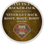 Phillies Peanuts And Cracker Jack  Round Beach Towel by Movie Poster Prints
