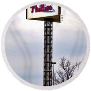 Phillies Stadium Sign Round Beach Towel by Bill Cannon