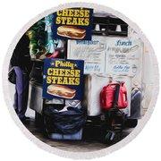 Philly Cheese Steak Cart Round Beach Towel