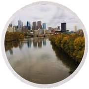 Philly Fall River View Round Beach Towel