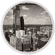 Philly In The Clouds Round Beach Towel