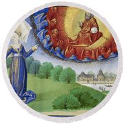 Philosophy Instructs Boethius On God Round Beach Towel by Getty Research Institute
