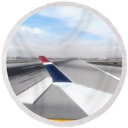 Phoenix Az Airport Wing Tip View Round Beach Towel