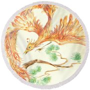 Phoenix In Flight Round Beach Towel