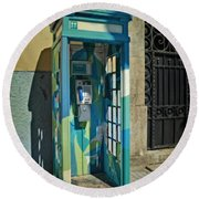 Phone Booth In Blues - Oporto Round Beach Towel