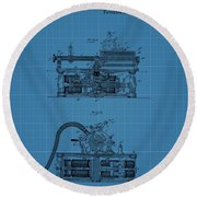 Phonograph Blueprint Patent Drawing Round Beach Towel
